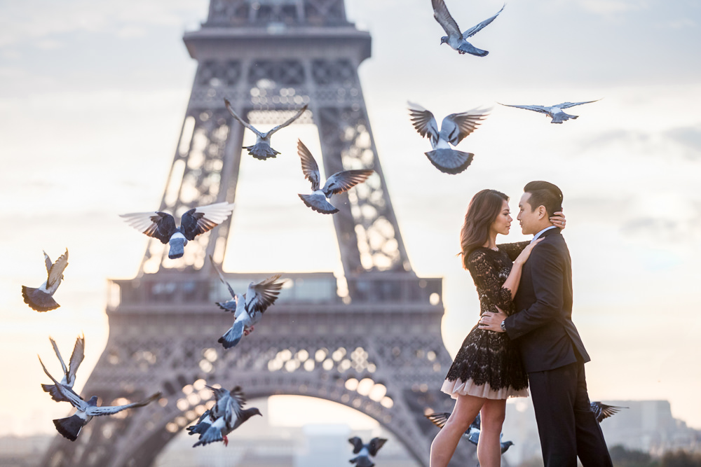 Paris photographer reviews for proposal engagement portraits wedding and elopement