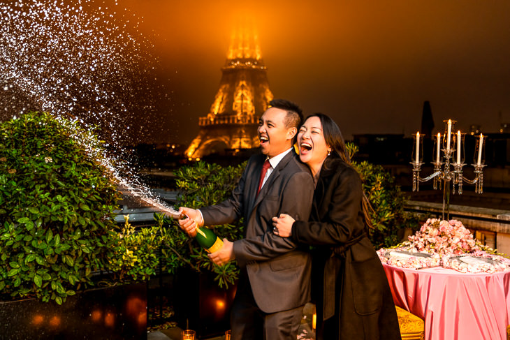 Romantic Paris proposal ideas with Champagne on an exclusive rooftop of the Shangri-La Hotel with Eiffel Tower views
