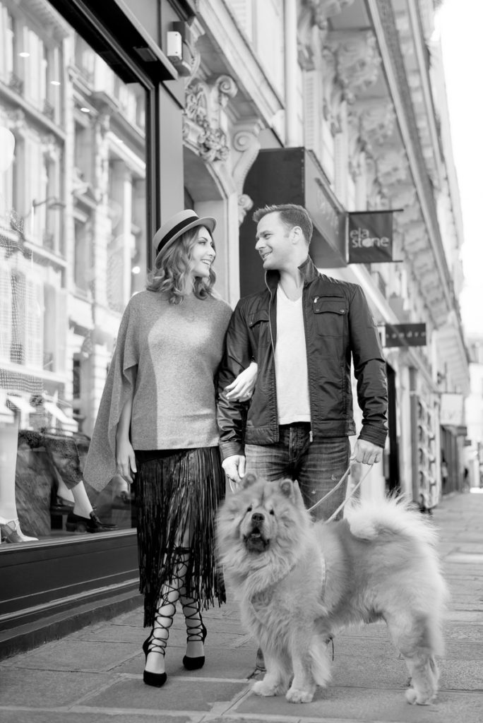 Paris engagement photos with dog as prop