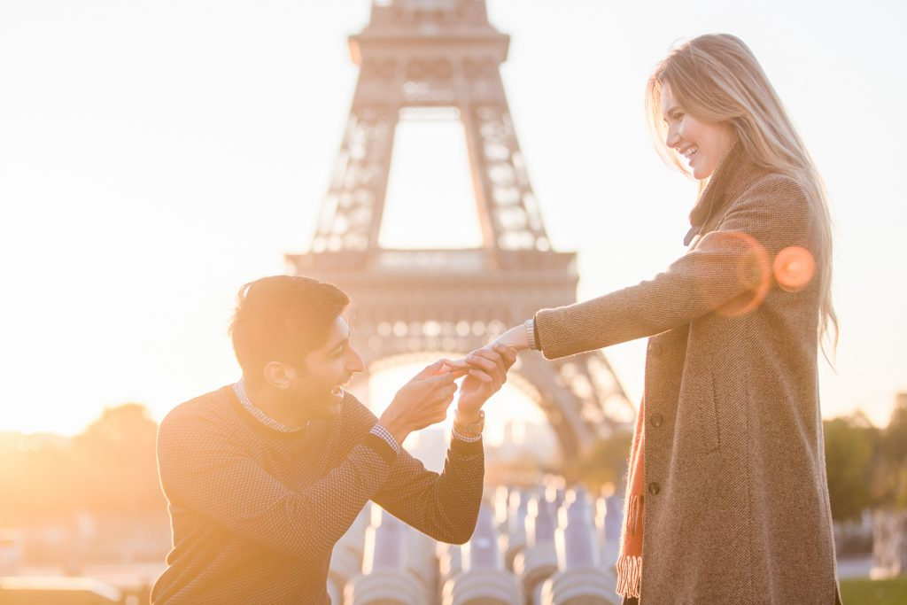 Paris Proposal at the Eiffel Tower Trocadero Paris