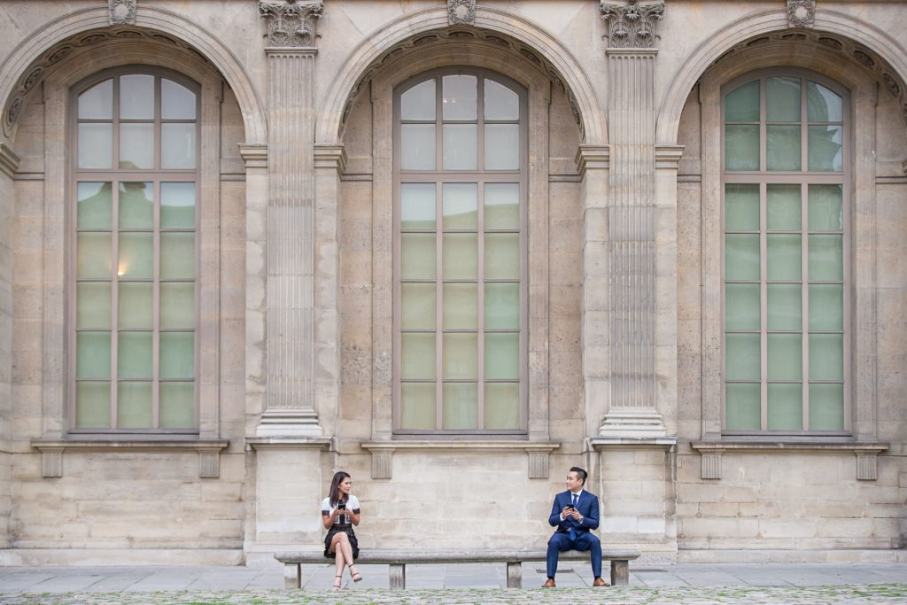 Paris engagement Louvre Museum Courtyard