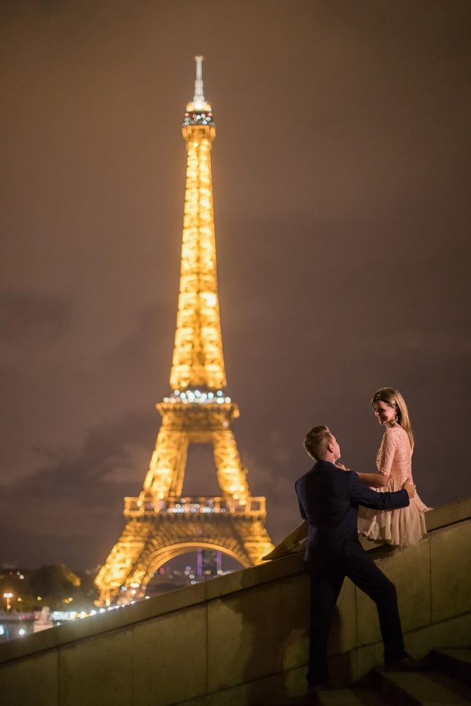 Paris engagement session Trocadero Eiffel Tower Night time