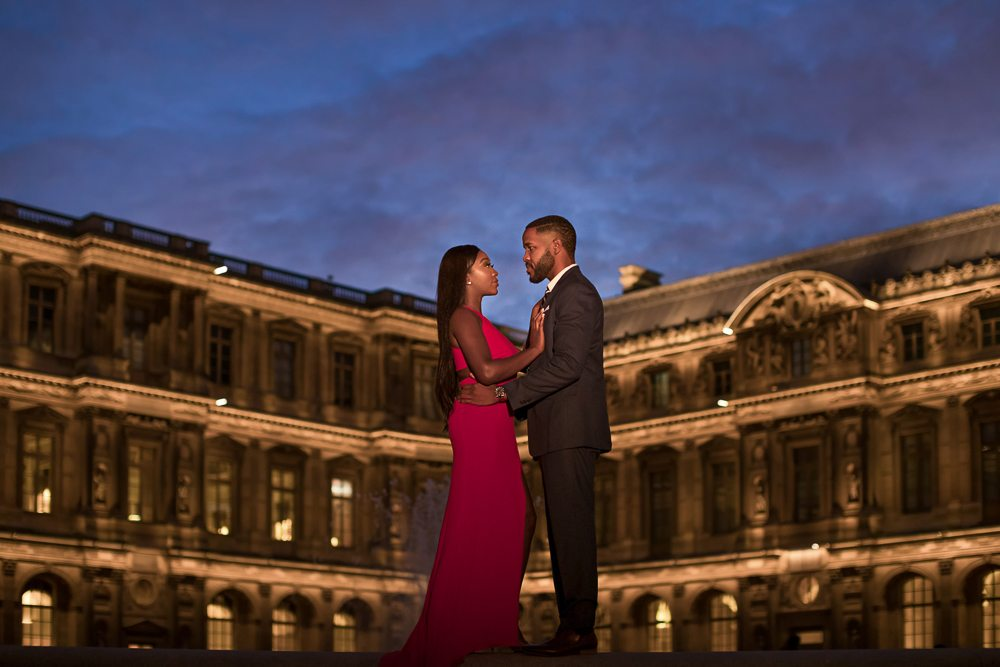 Paris engagement session at the Louvre Museum at night